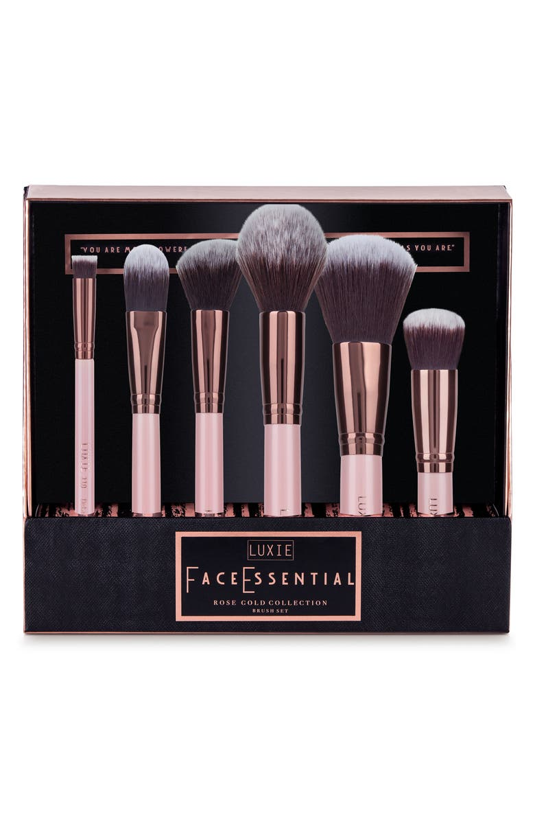 LUXIE Rose Gold Face Essential Brush Set, Main, color, NO COLOR