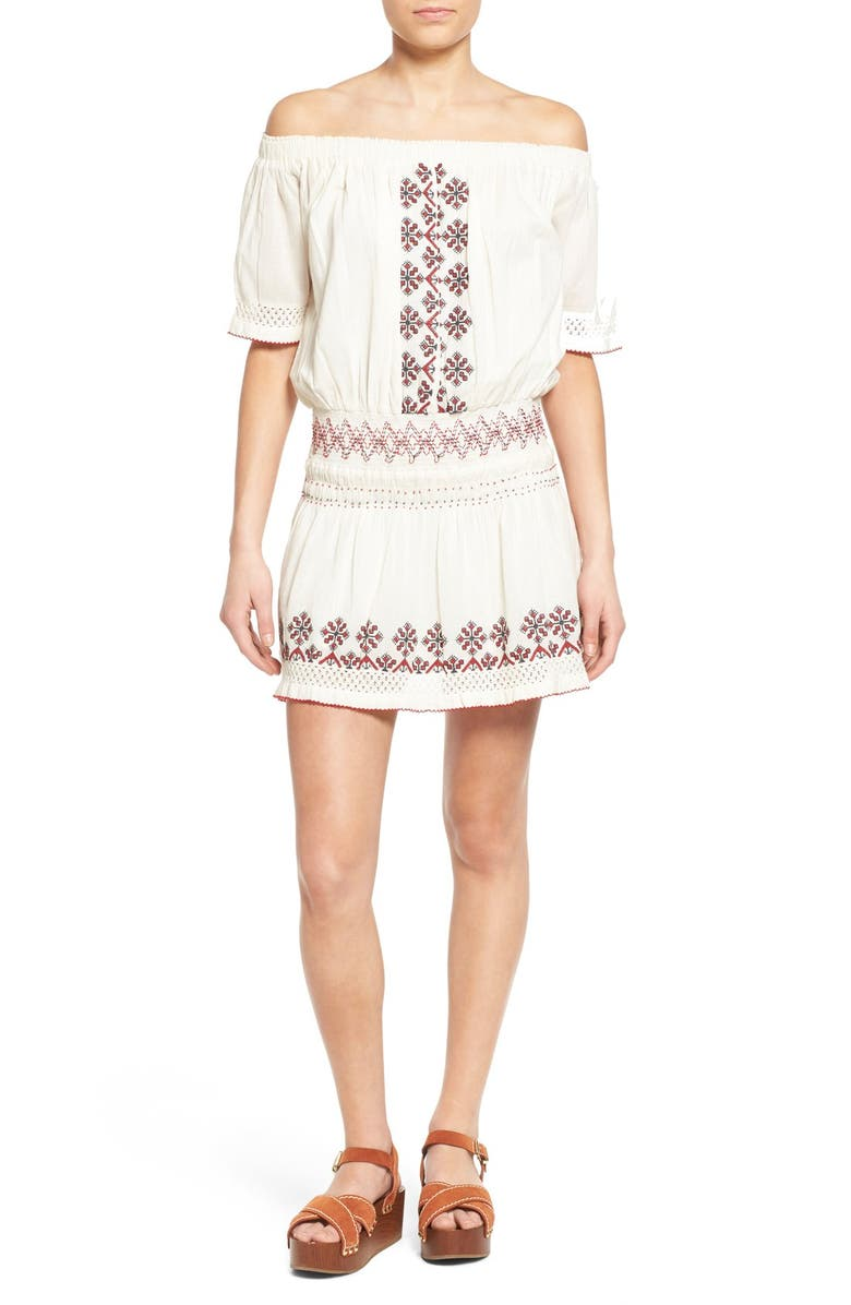 TULAROSA 'Marietta' Embroidered Off the Shoulder Dress, Main, color, 900
