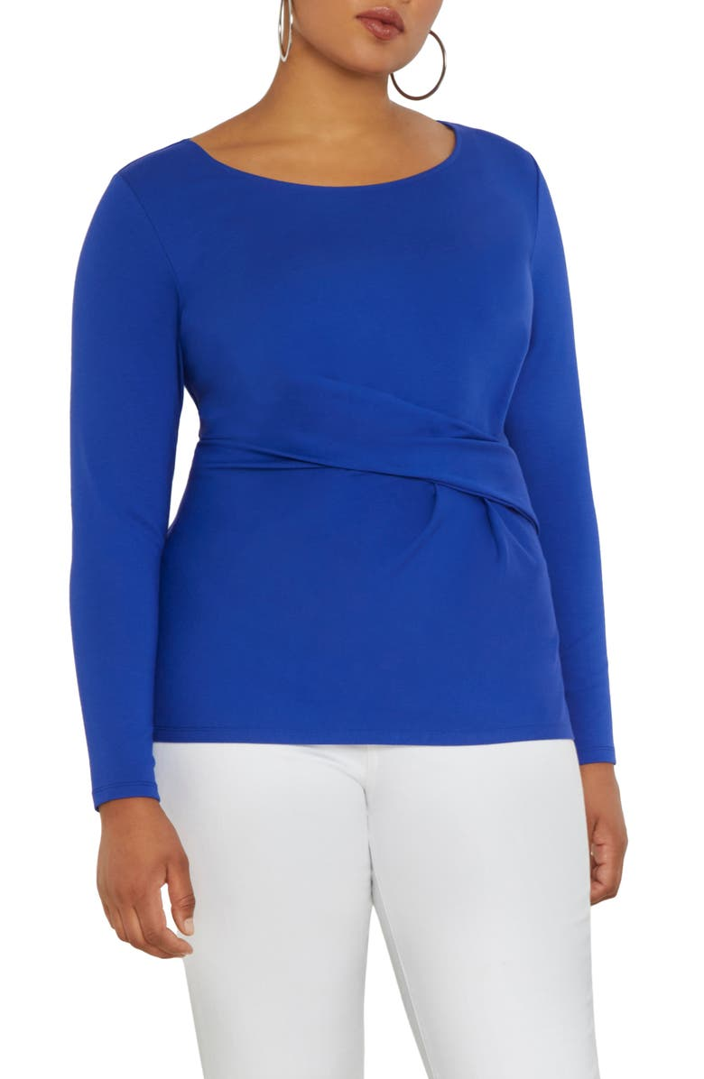 ELOQUII Long Sleeve Twist Top, Main, color, DAZZLING BLUE