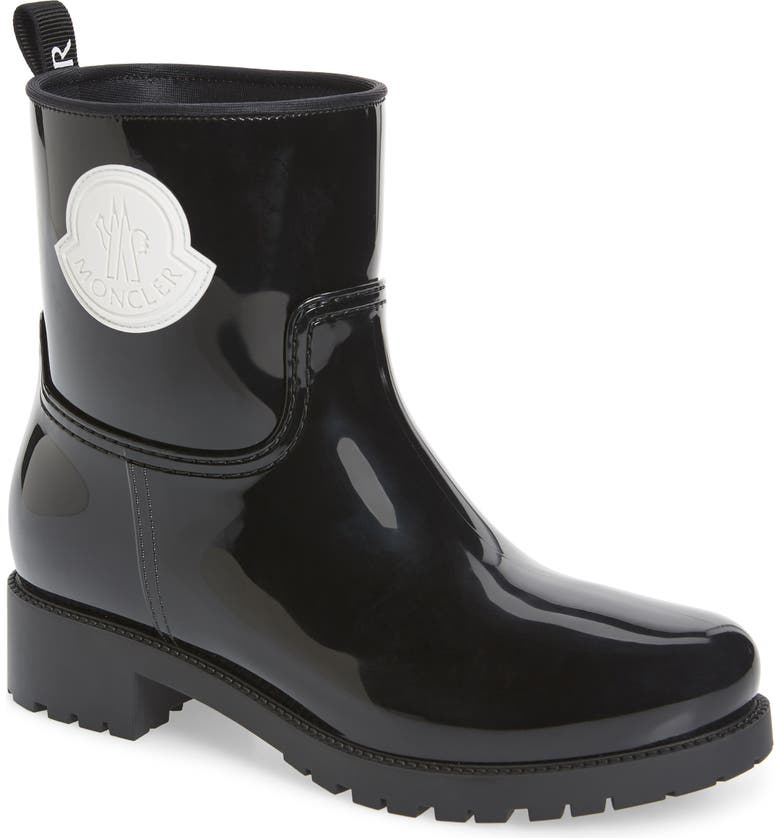 MONCLER Ginette Stivale Logo Waterproof Rain Boot, Main, color, BLACK/ CHARCOAL
