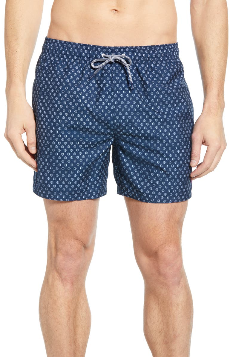 TED BAKER LONDON Pose Geo Print Swim Trunks, Main, color, NAVY