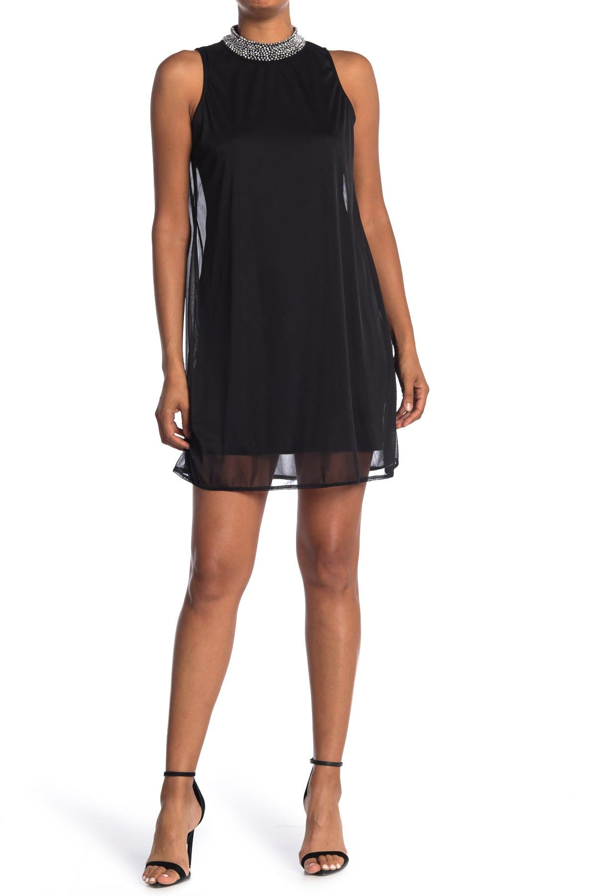 Image of TASH + SOPHIE Beaded Sleeveless A-Line Dress