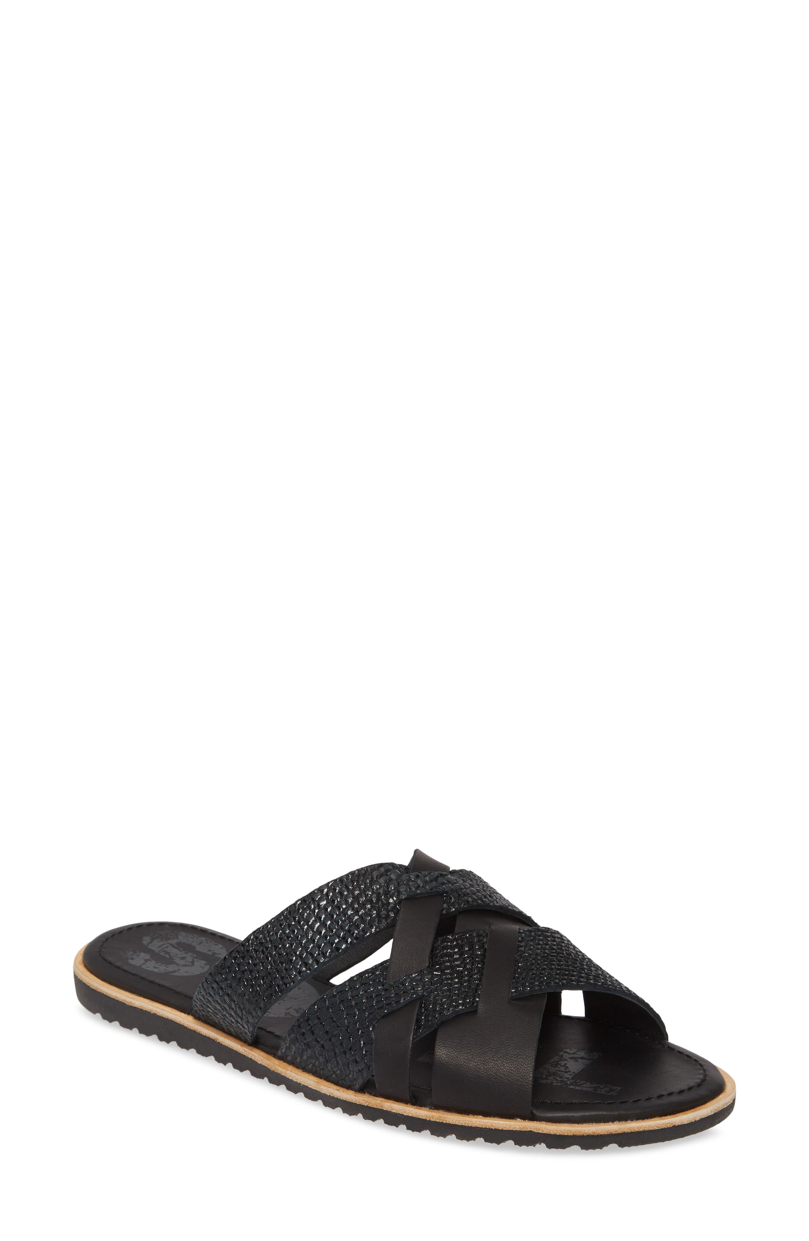 Sorel Ella Snakeskin Embossed Slide Sandal, Black