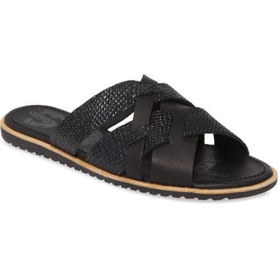 Sorel Ella Snakeskin Embossed Slide Sandal- Black
