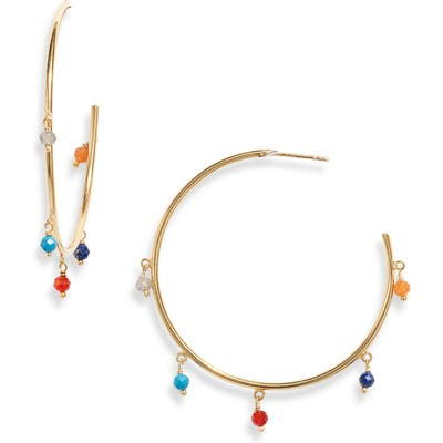 Argento Vivo Stone Hoop Earrings