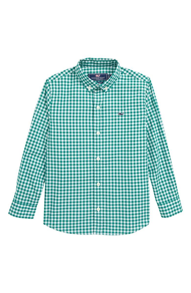 VINEYARD VINES Poplin Gingham Whale Shirt, Main, color, 375