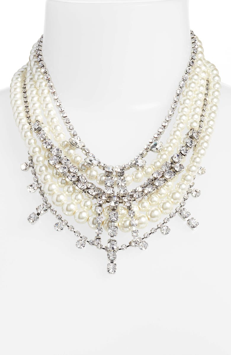 CRISTABELLE Crystal & Imitation Pearl Multistrand Necklace, Alternate, color, SILVER