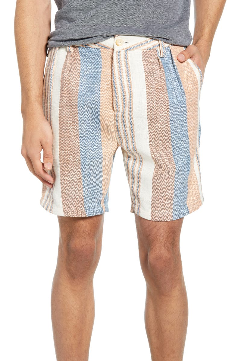 SCOTCH & SODA Pleated Stripe Shorts, Main, color, COMBO A