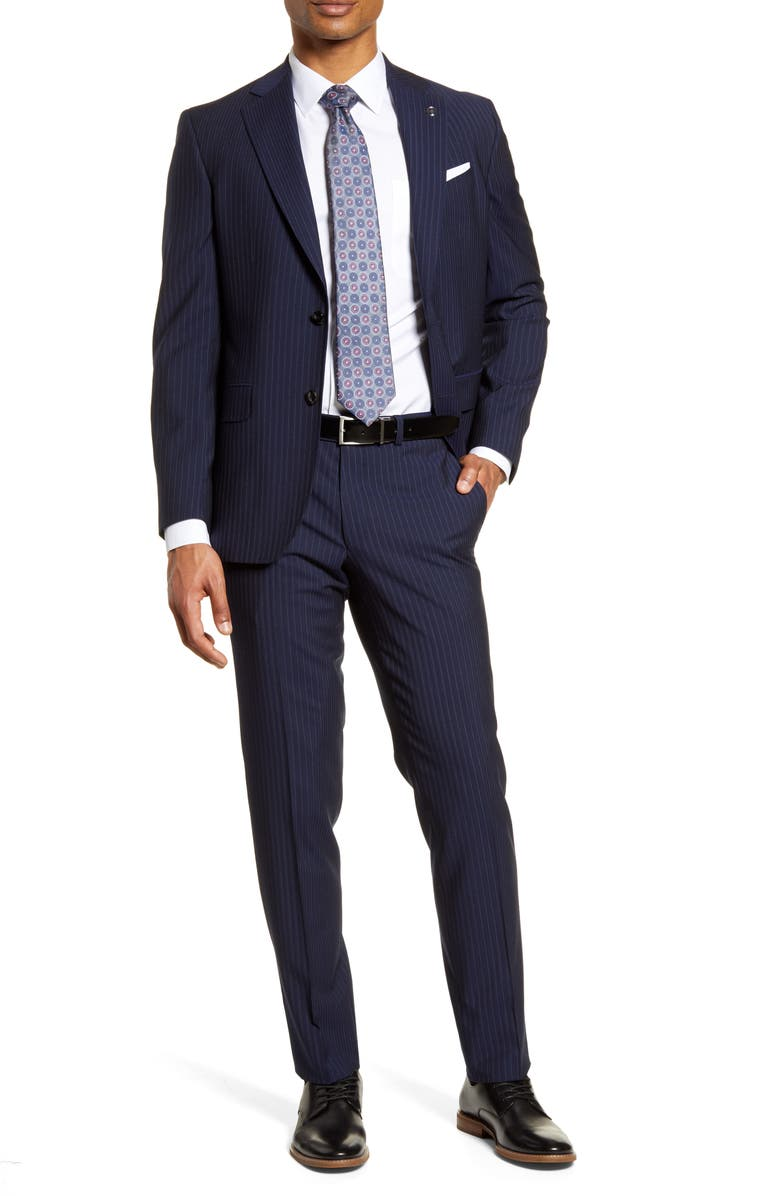TED BAKER LONDON Jay Trim Fit Stripe Wool Suit, Main, color, NAVY