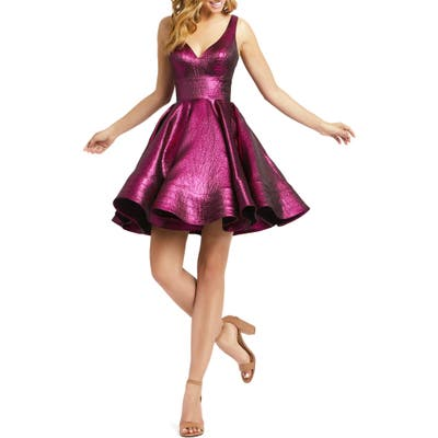 MAC Duggal Sleeveless Metallic Fit & Flare Dress, Pink