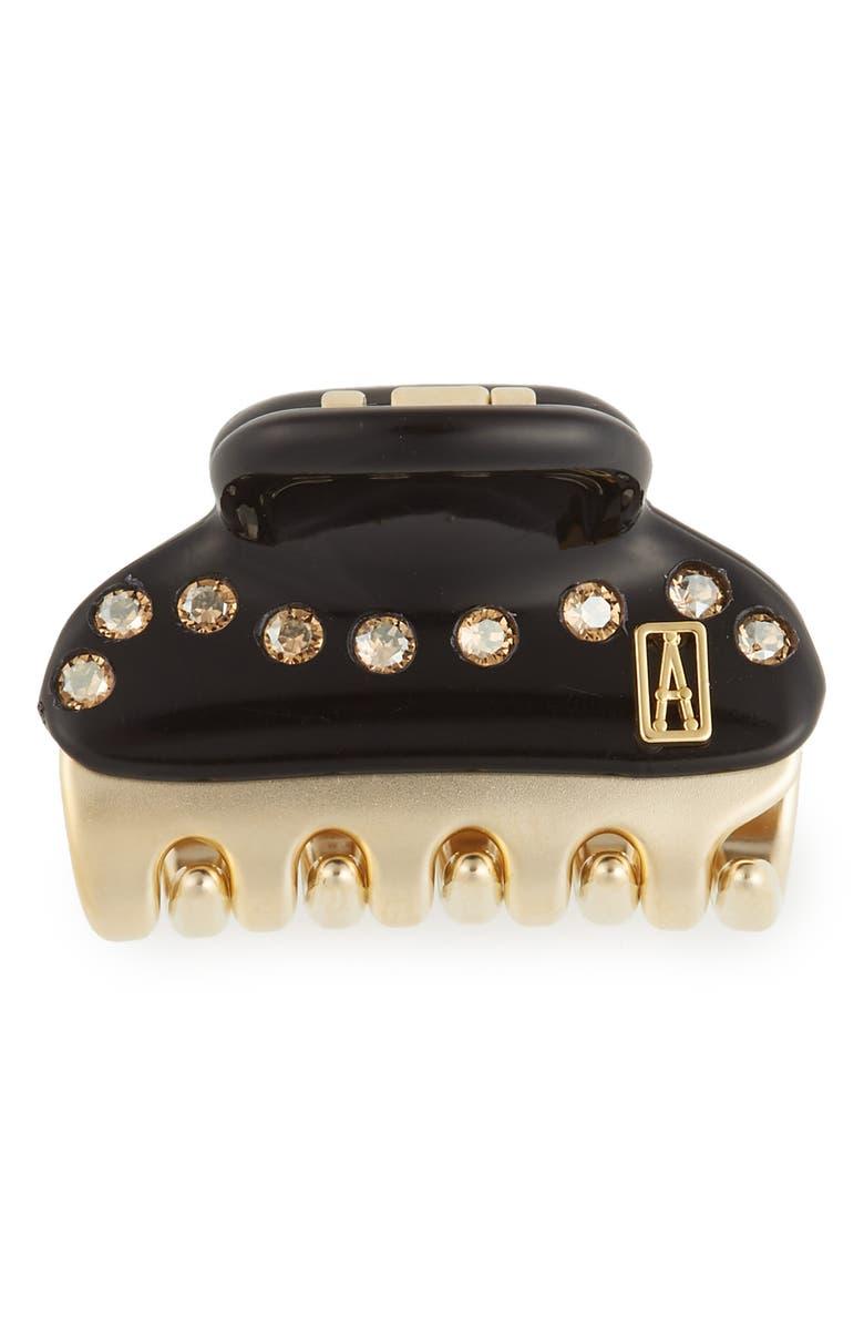 ALEXANDRE DE PARIS Baby Crystal Embellished Hair Clip, Main, color, BLACK GOLD
