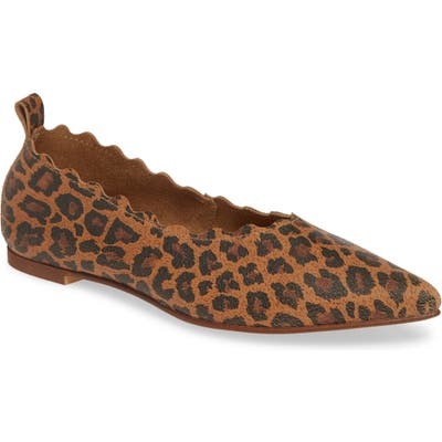 Klub Nico Naomi Scallop Pointy Toe Flat, Brown