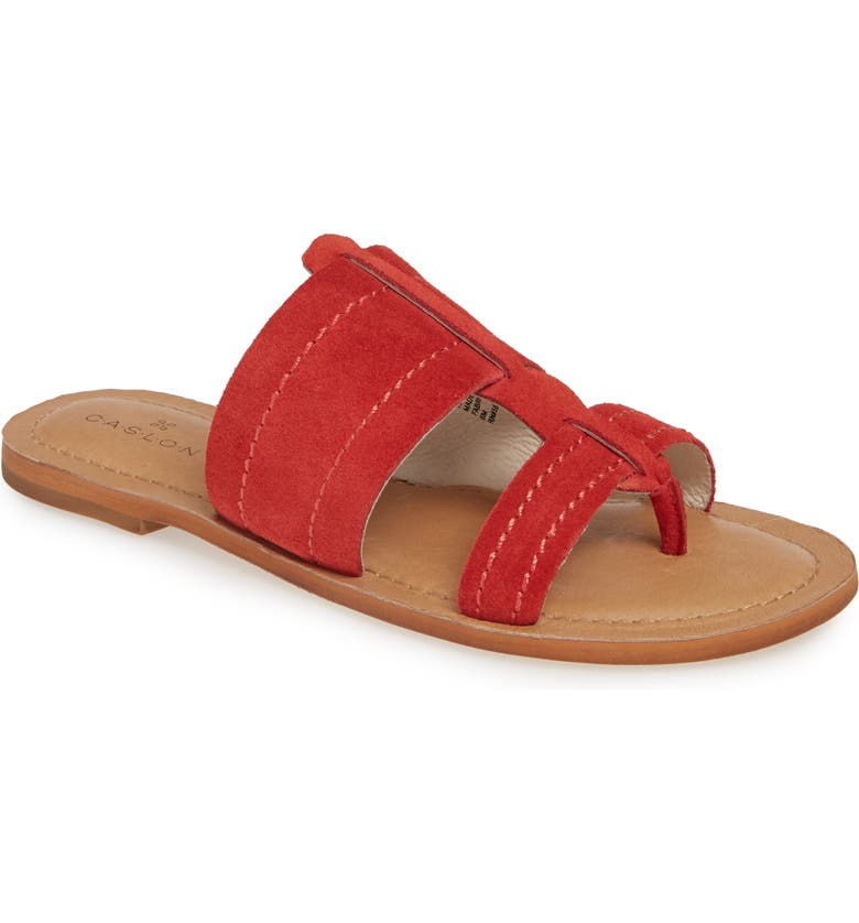 CASLON<SUP>®</SUP> Mateo Slide Sandal, Main, color, RED SUEDE