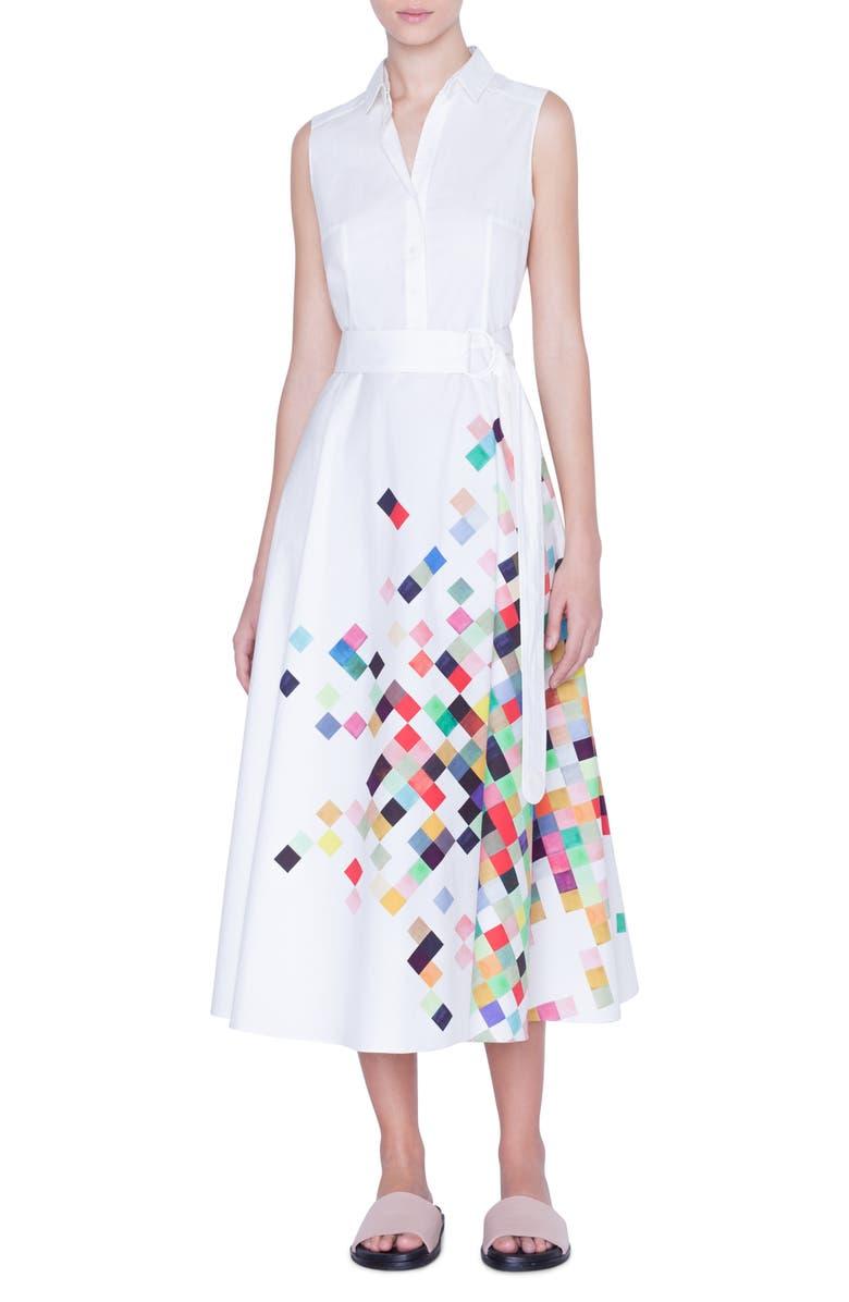 AKRIS PUNTO Pixel Print Sleeveless Midi Shirtdress, Main, color, CREAM PIXELPRINT