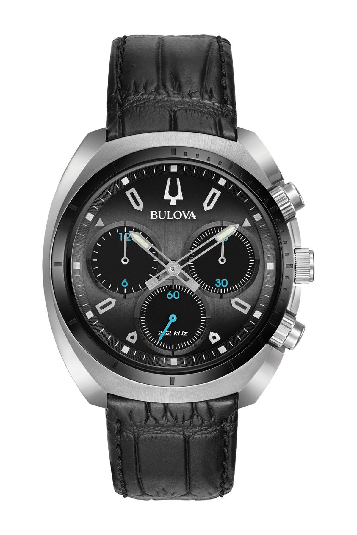 Image of Bulova Men's CURV Quartz Croc Embossed Leather Strap Watch, 43mm