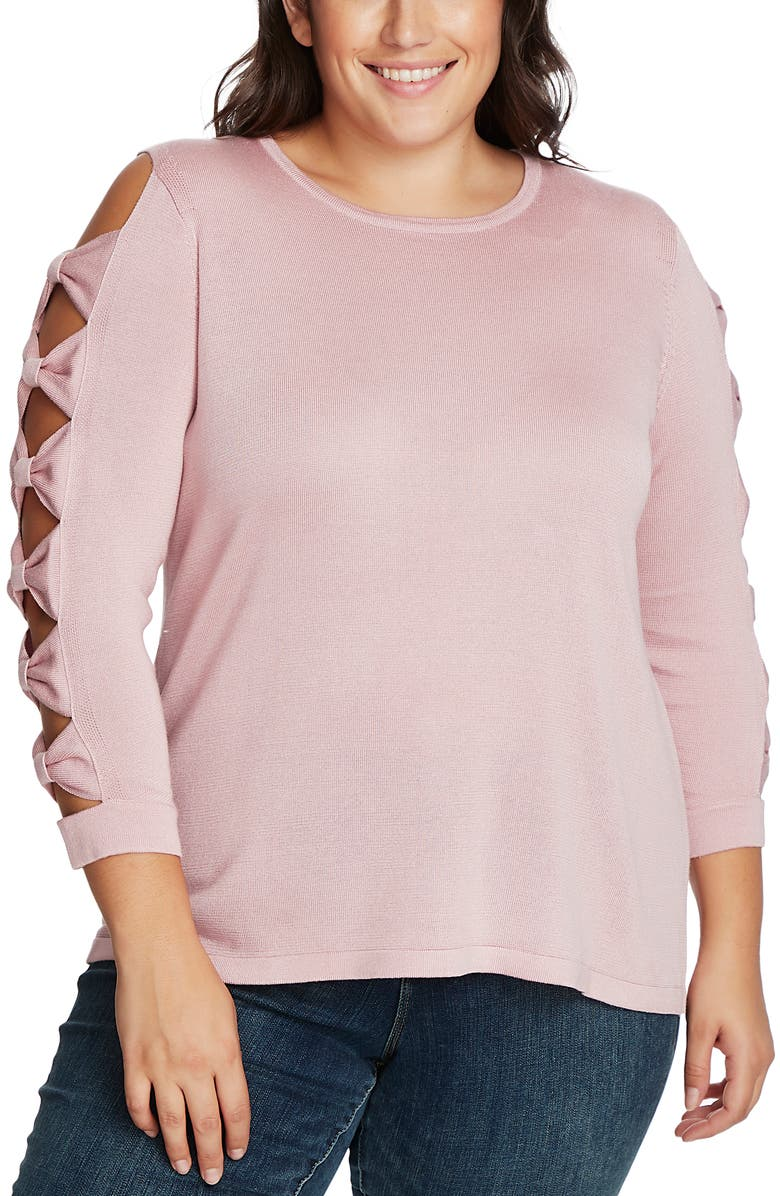CECE Bow Sleeve Sweater, Main, color, MOUNTAIN ROSE