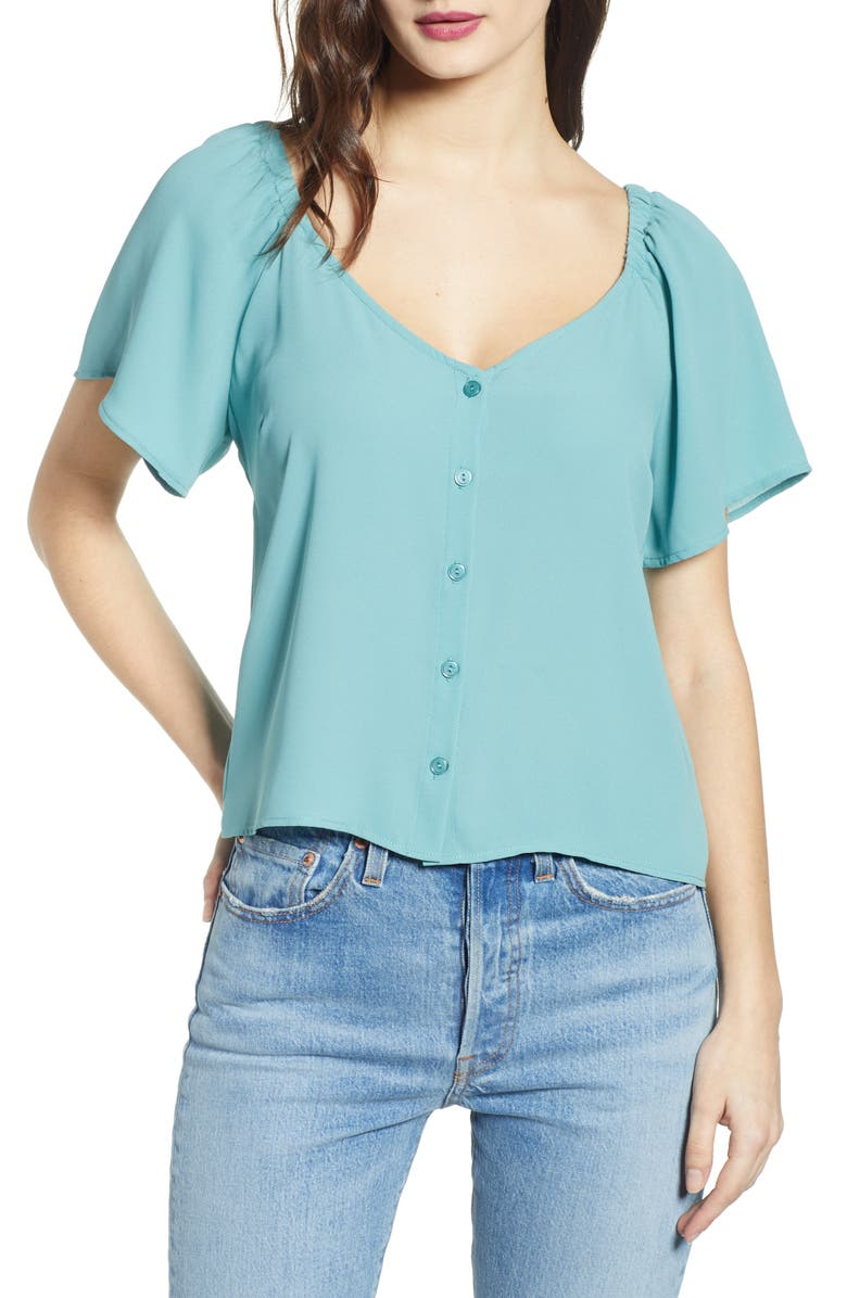 ALL IN FAVOR Flutter Sleeve Button Up Top, Main, color, TEAL