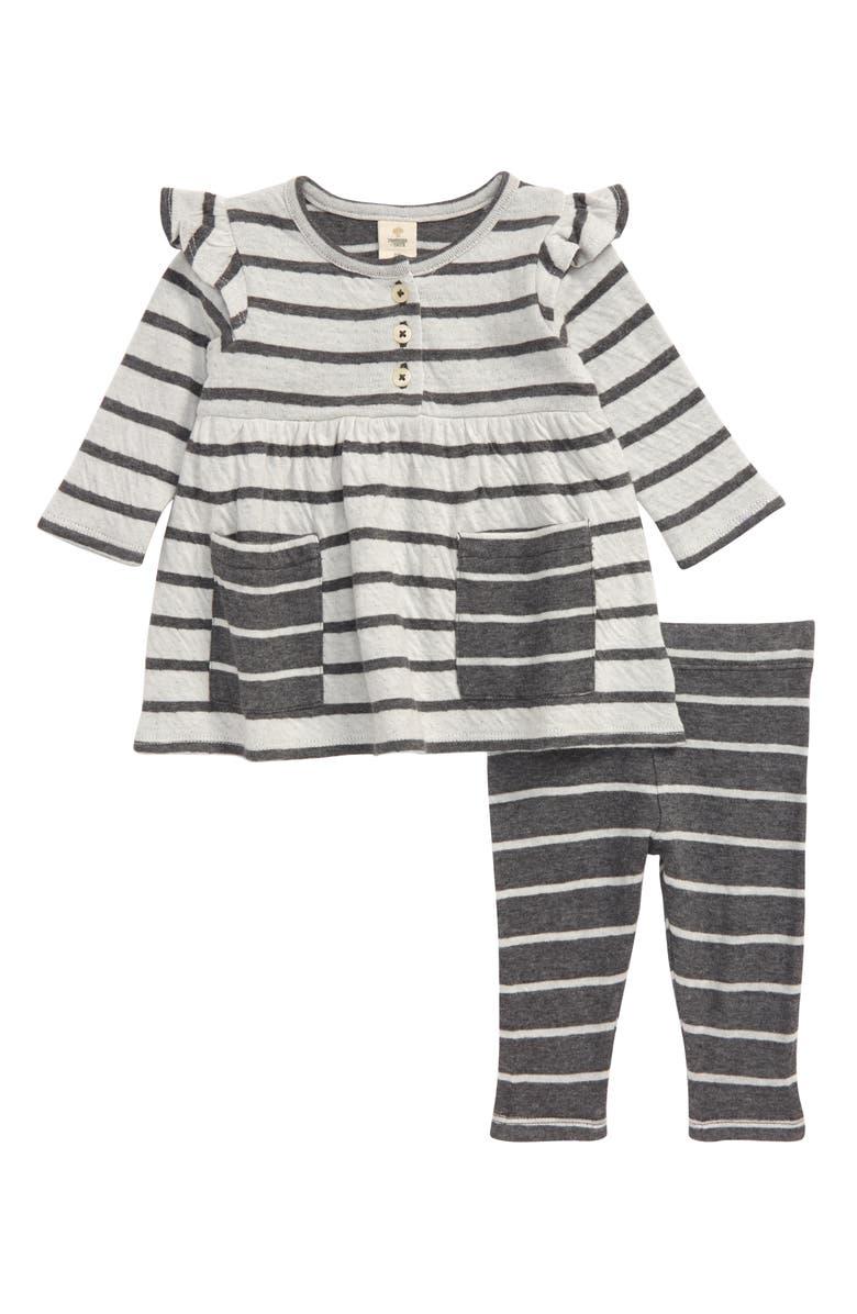 TUCKER + TATE Stripe Long Sleeve Double Knit Dress & Leggings Set, Main, color, IVORY EGRET- GREY STRIPE