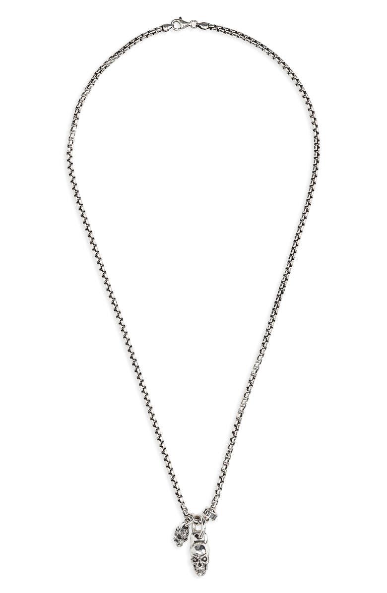 ROOM101 Skull Pendant Necklace, Main, color, SILVER