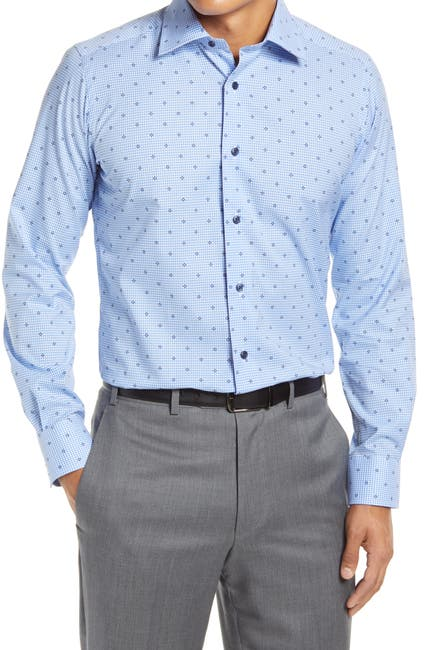 Image of David Donahue Trim Fit Check Dress Shirt