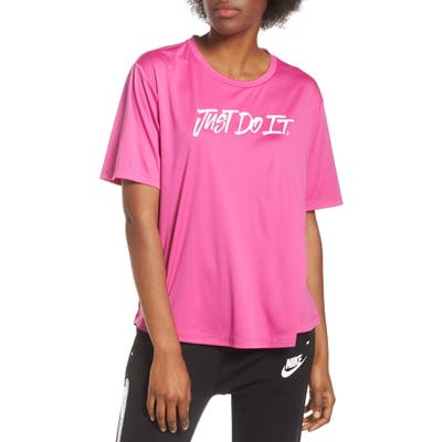 Nike Dry Just Do It Split Back Tee, Pink