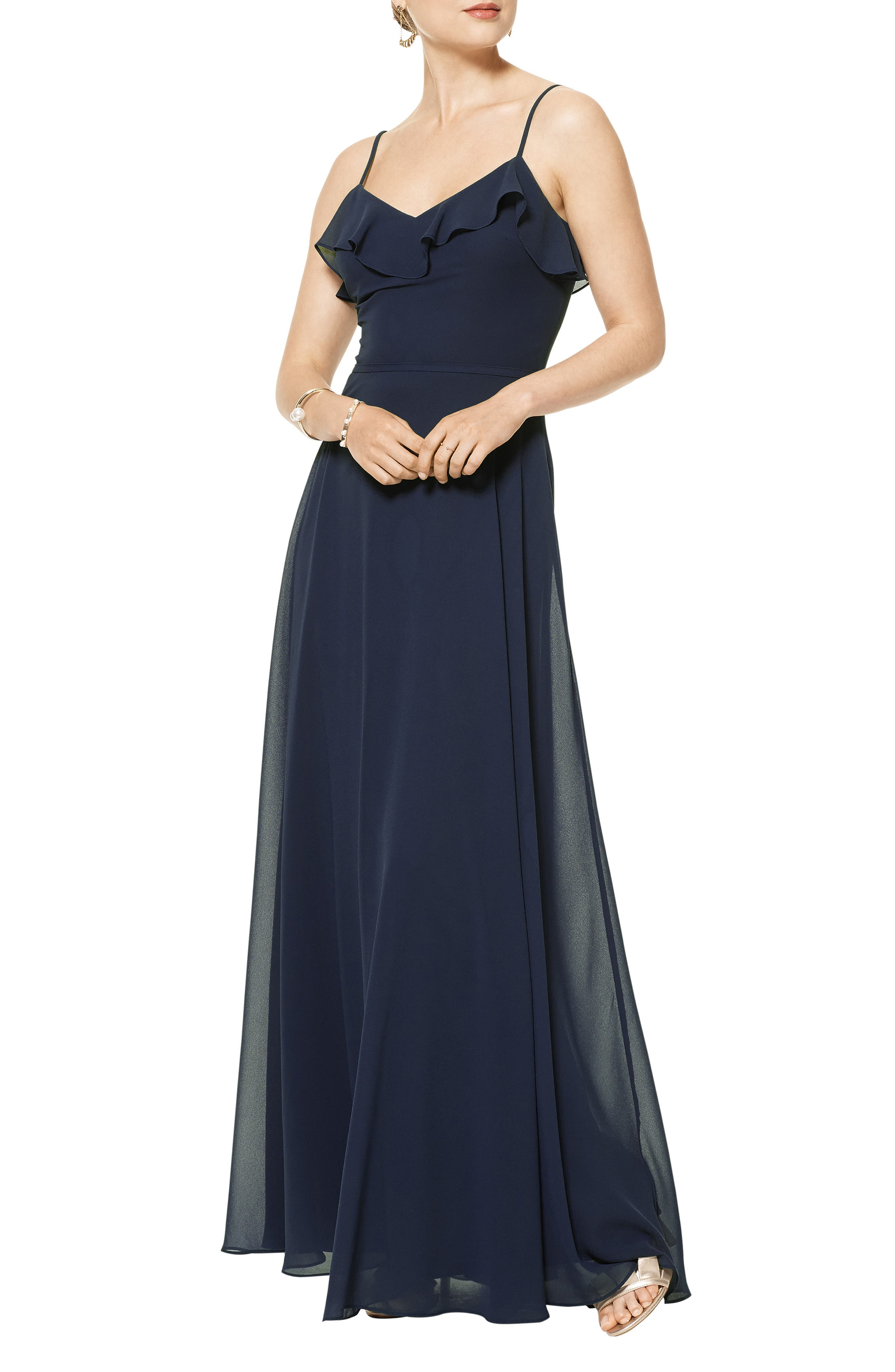 Ruffles trace the front and back V-necklines on this flowy A-line gown cut from elegant, airy chiffon. Style Name:#levkoff Ruffle V-Neck Chiffon Gown. Style Number: 5991049. Available in stores.