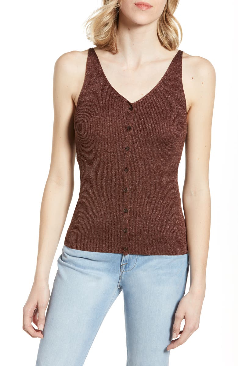 LOU & GREY V-Neck Button Sweater Camisole, Main, color, 200
