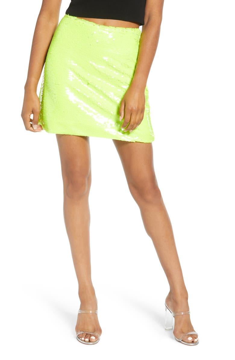 LEITH Sequin Miniskirt, Main, color, GREEN SORBET NEON
