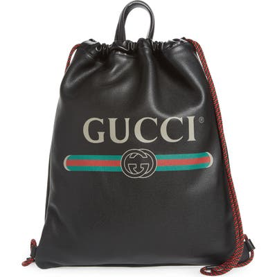 Gucci Logo Leather Drawstring Backpack - Black