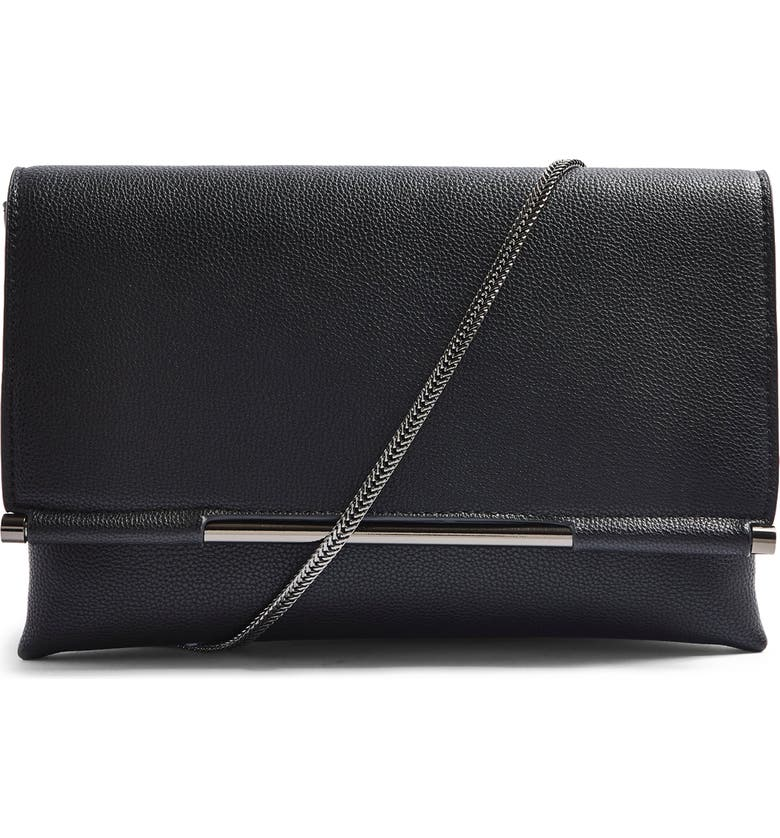 TOPSHOP Cara Convertible Faux Leather Clutch, Main, color, BLACK