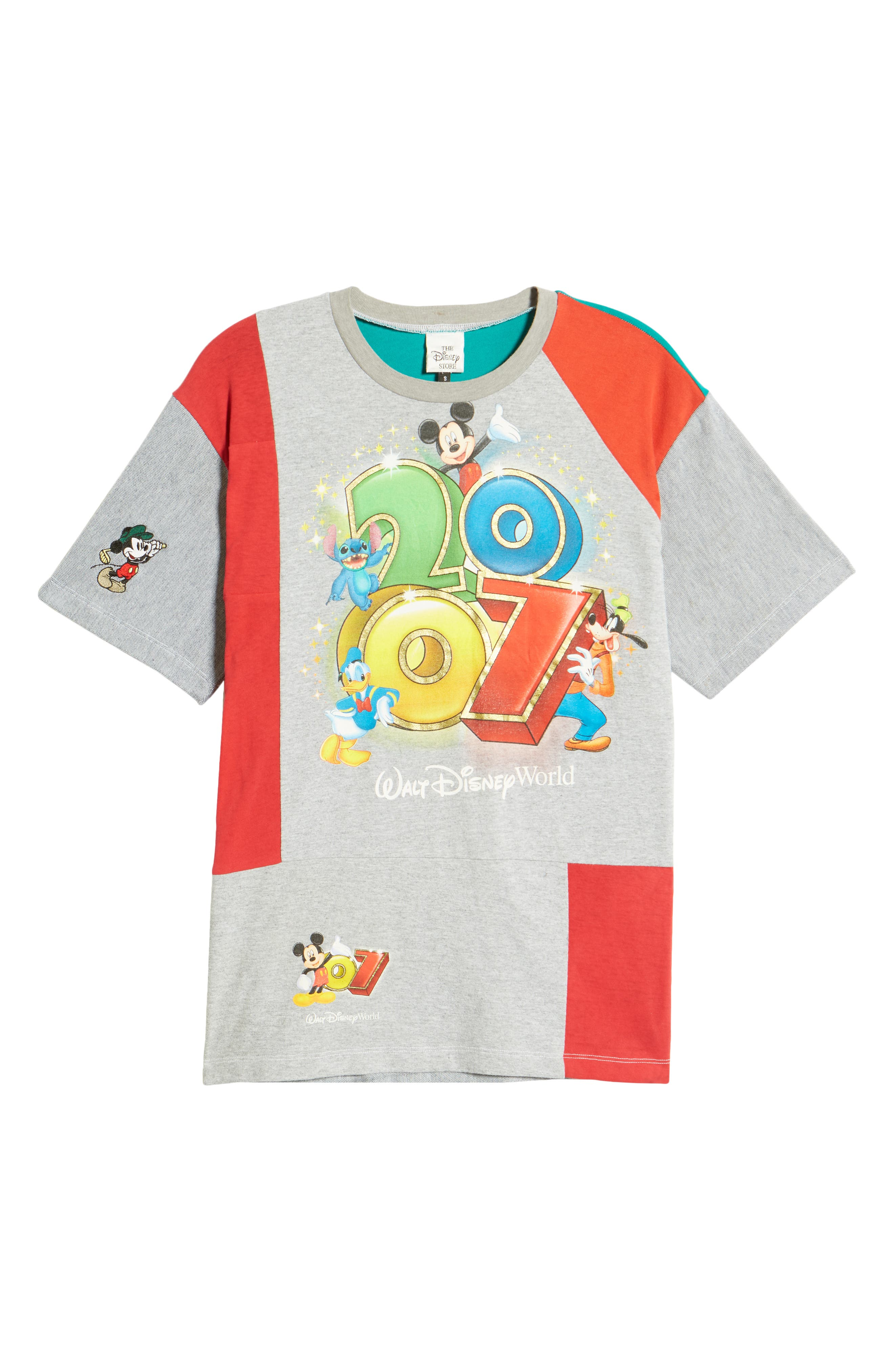 Unisex Upcycled Mickey & Friends 2007 Patchwork Graphic Tee