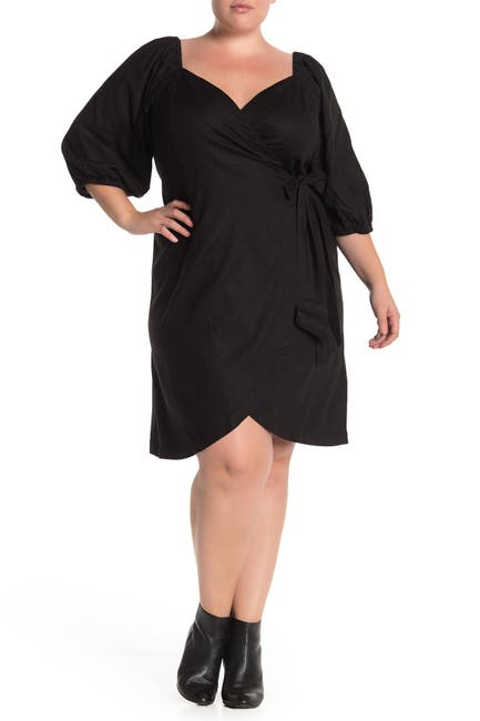 Image of ELOQUII Optional Off-The-Shoulder Wrap Dress