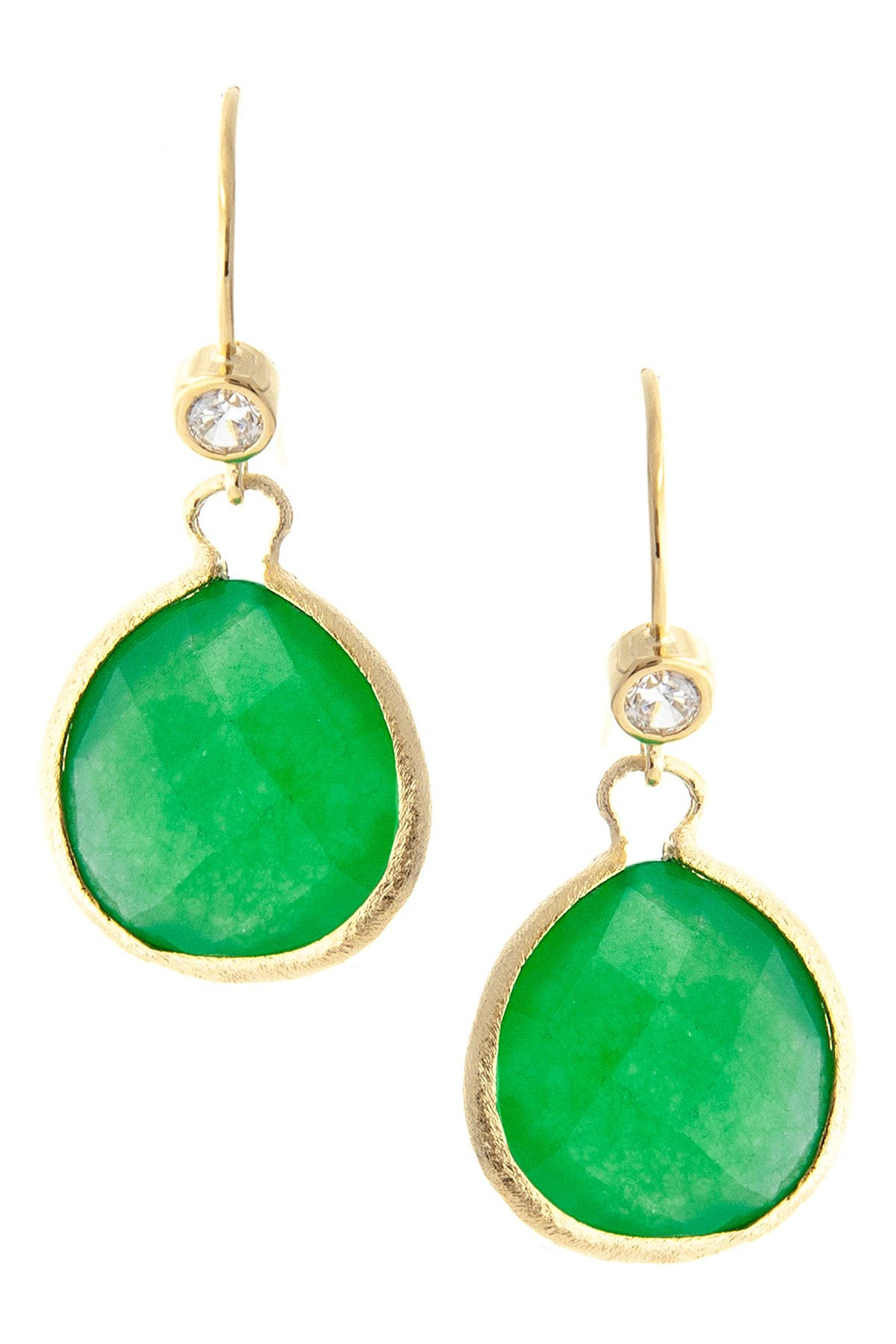 Image of Rivka Friedman 18K Gold Clad Brass Faceted Teardrop Quartzite Dangle CZ Earrings