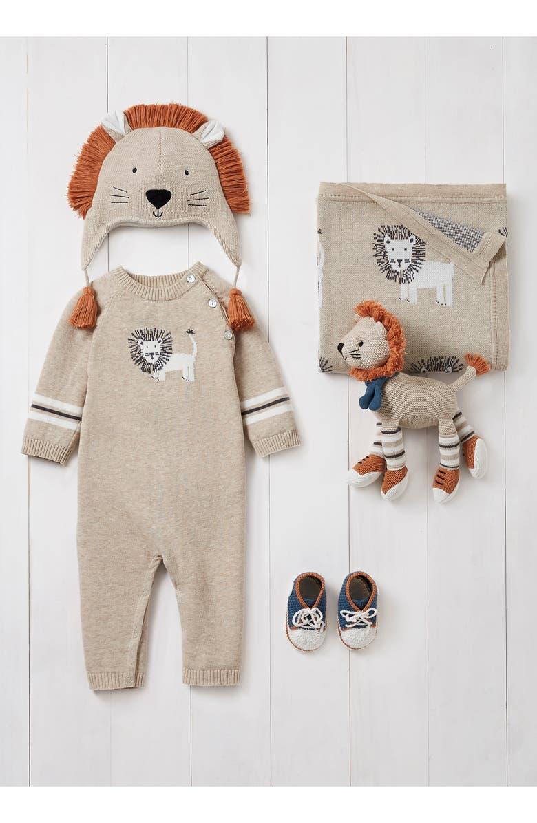 ELEGANT BABY Lion Romper, Hat, Blanket, Booties & Toy Set, Main, color, BEIGE