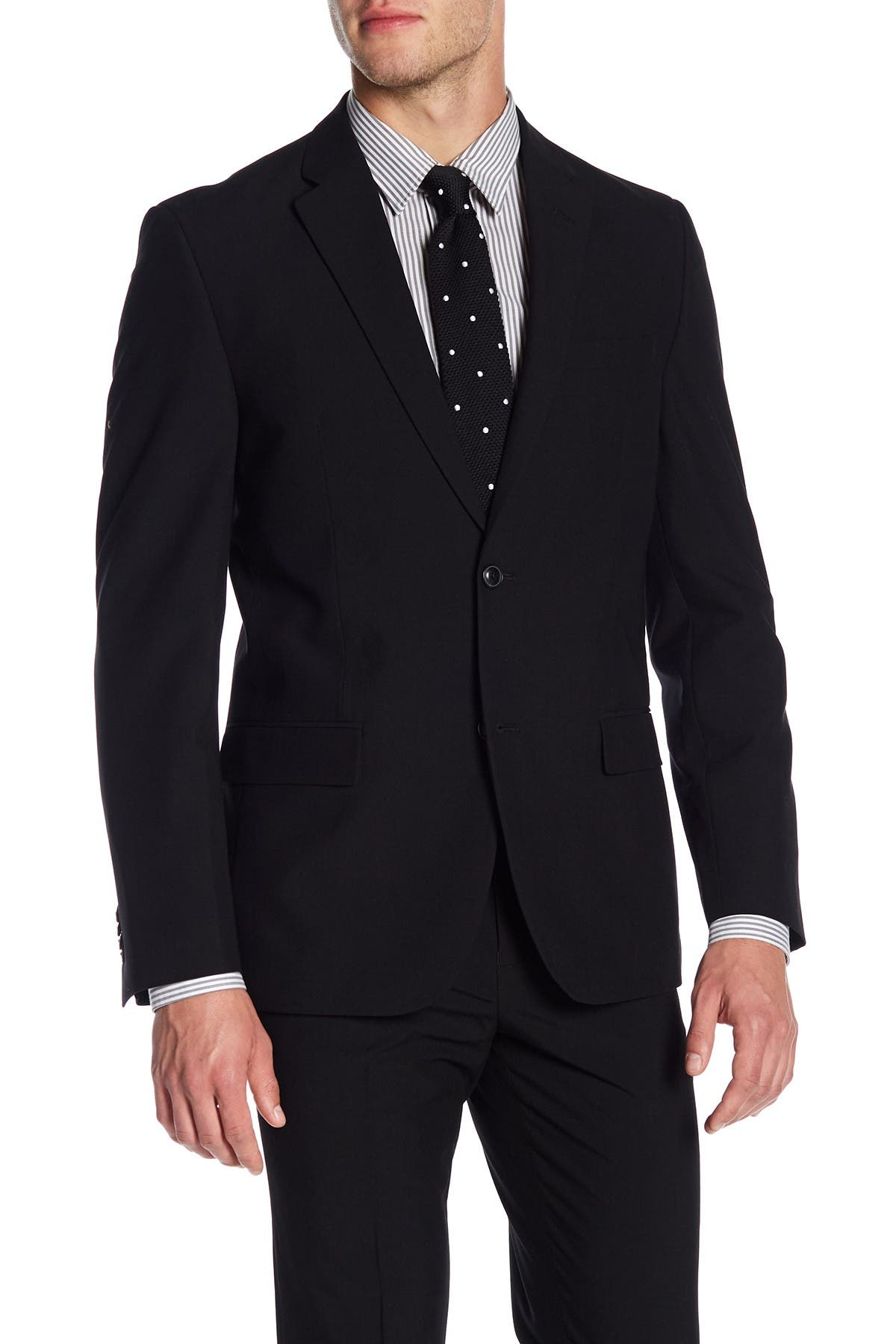 Image of Ben Sherman Solid Black Two Button Notch Lapel Suit Separates Jacket