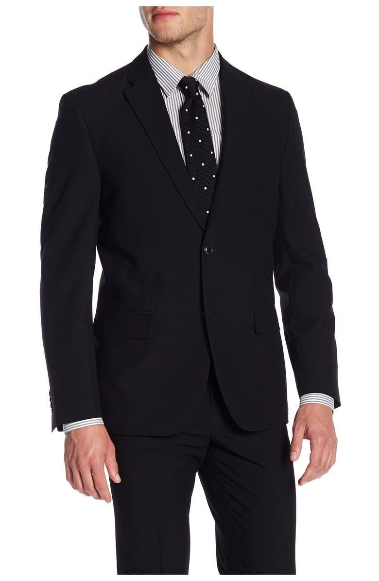 BEN SHERMAN Solid Black Two Button Notch Lapel Suit Separates Jacket, Main, color, BLACK