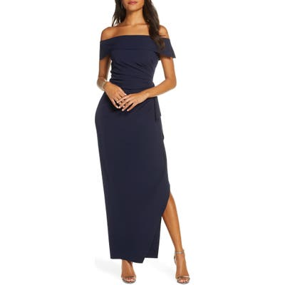 Petite Vince Camuto Off The Shoulder Crepe Gown, Blue