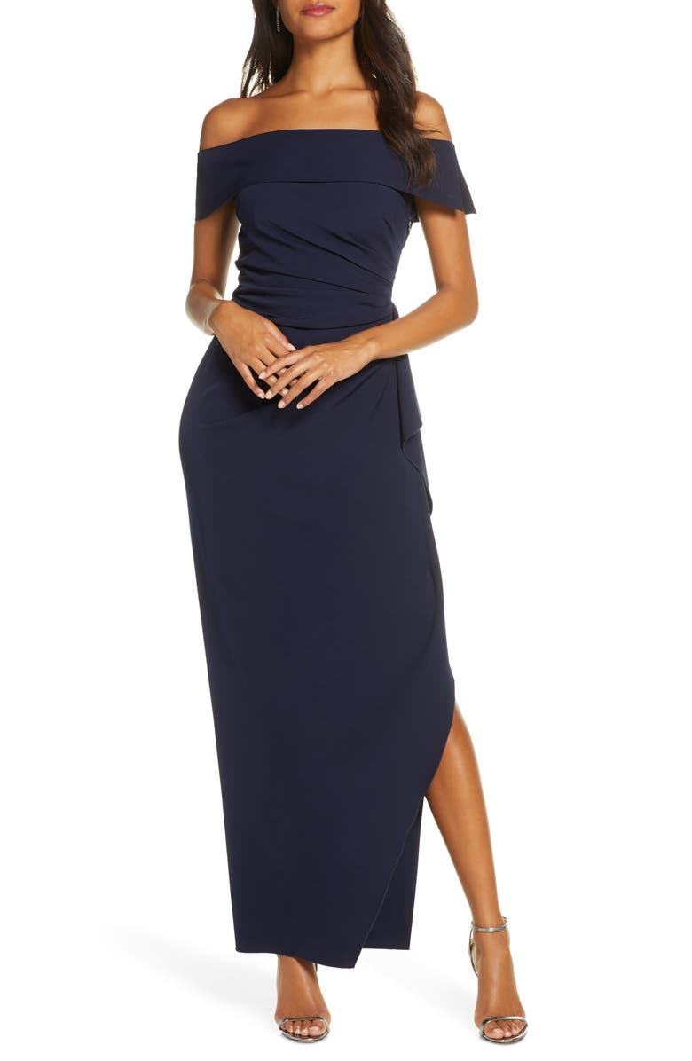VINCE CAMUTO Off the Shoulder Crepe Gown, Main, color, NAVY