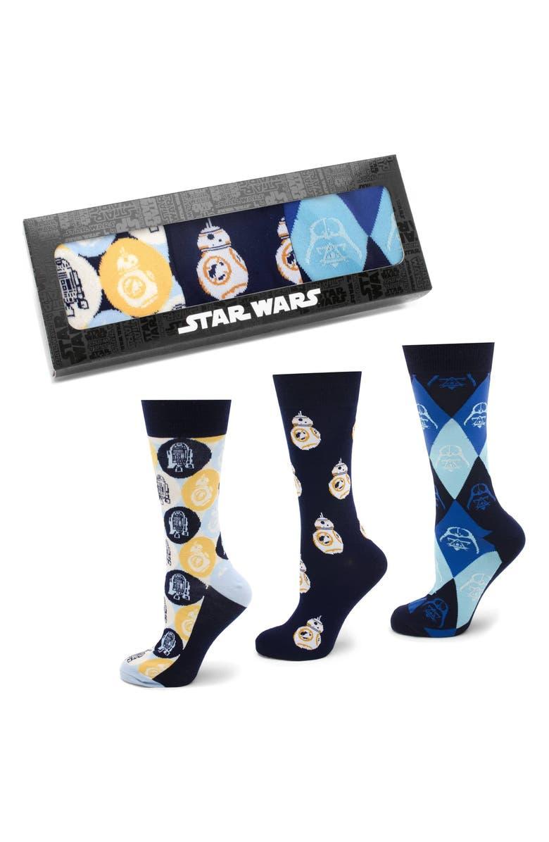 CUFFLINKS, INC. 'Star Wars' Icons 3-Pack Socks, Main, color, BLUE