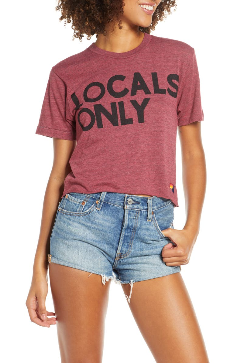 AVIATOR NATION Locals Only Boyfriend Tee, Main, color, HEATHERED PINK