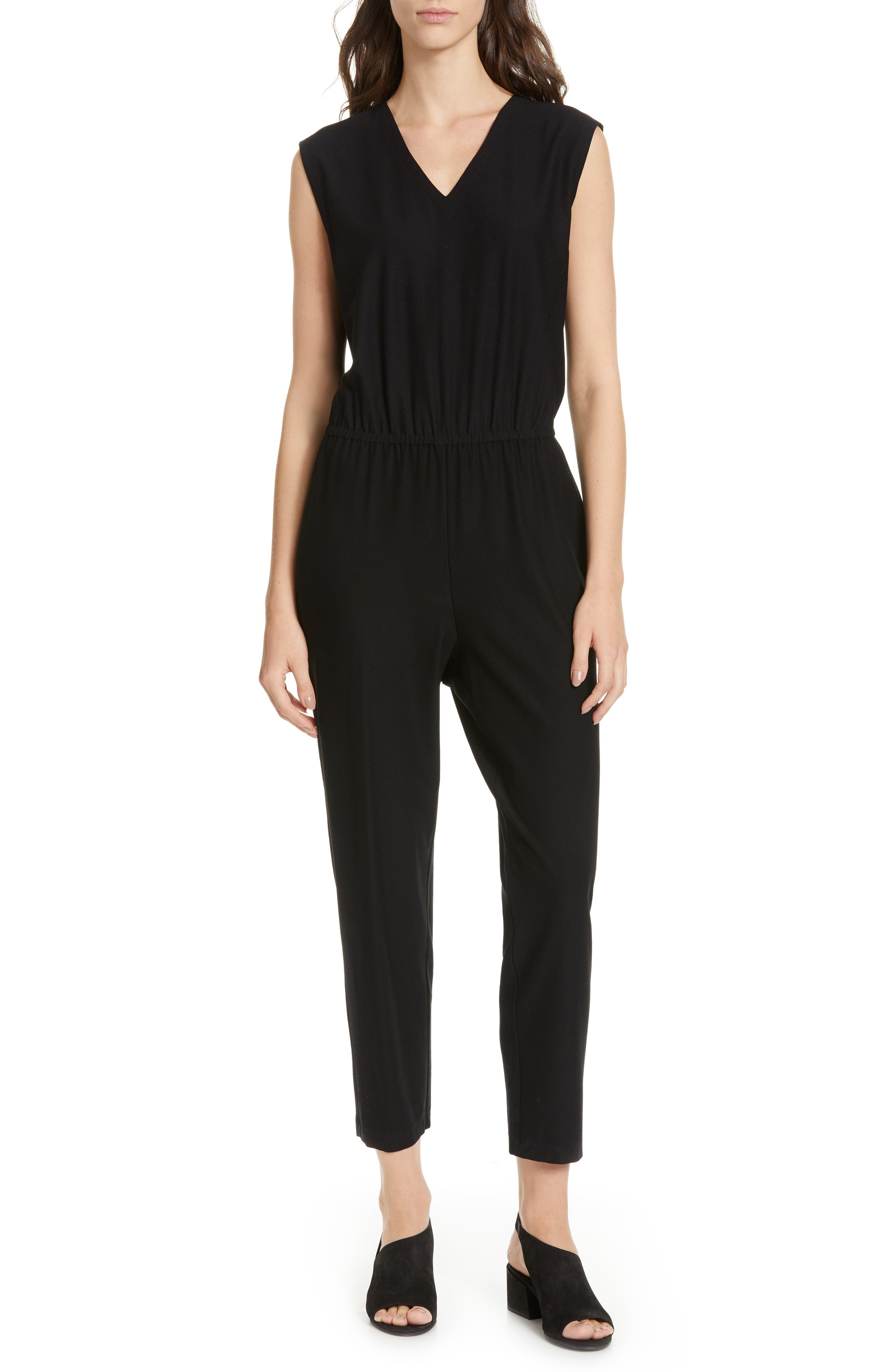 Image of Eileen Fisher Sleeveless Ankle Crop Jumpsuit