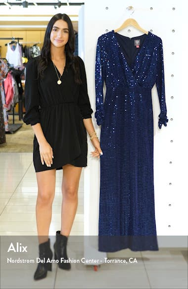 Sequin Stripe Long Sleeve Gown, sales video thumbnail