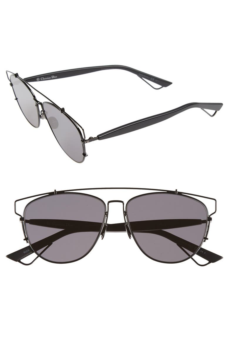 DIOR Technologic 57mm Brow Bar Sunglasses, Main, color, Black