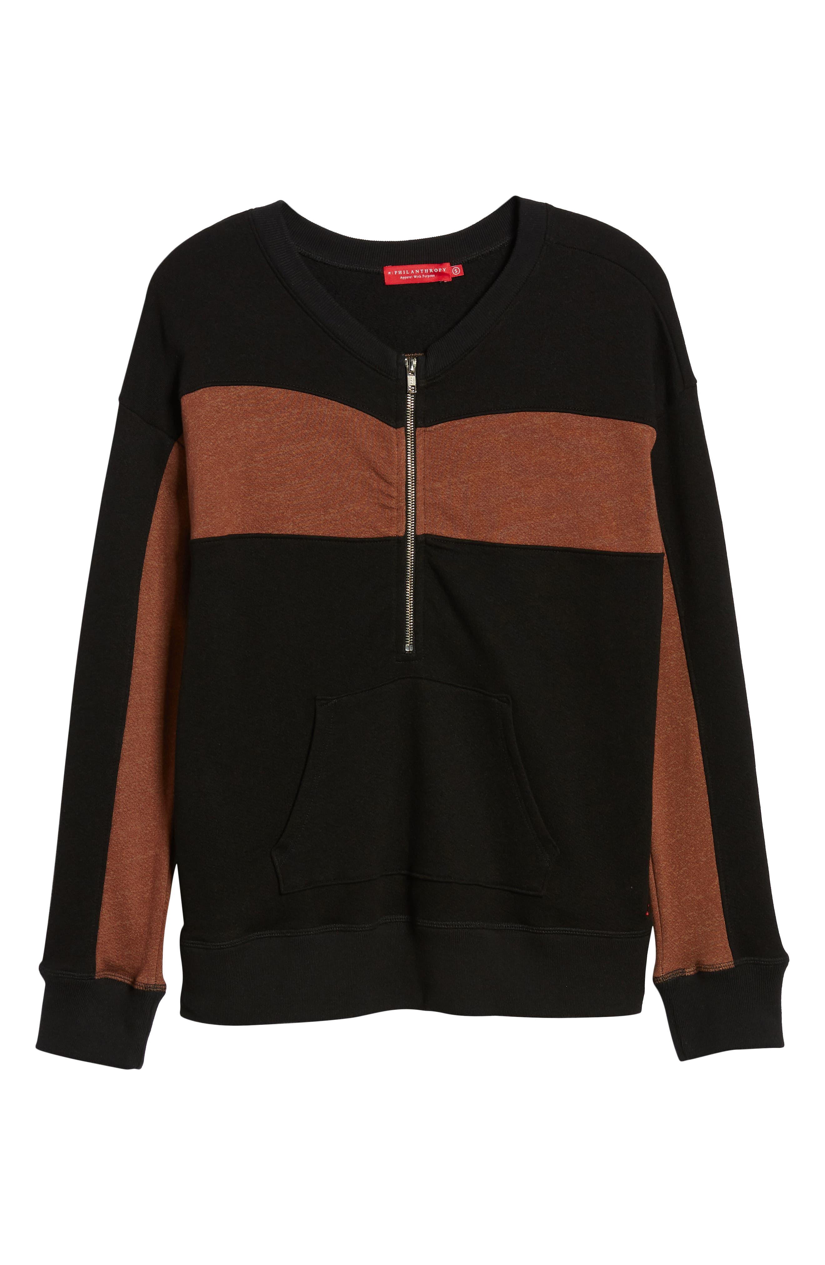 ,                             Stripe Quarter Zip Sweatshirt,                             Alternate thumbnail 6, color,                             002