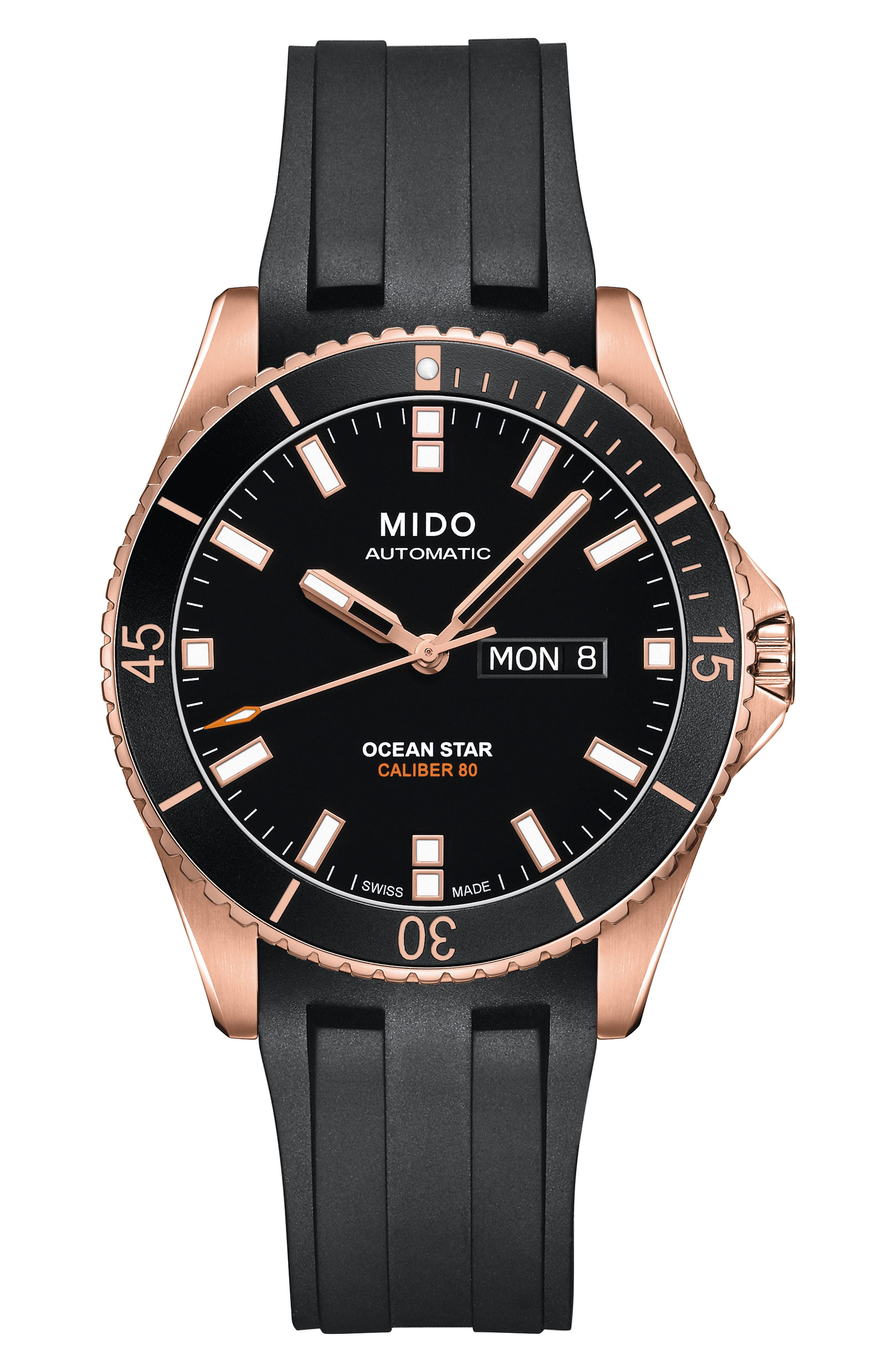 Ocean Star Automatic Rubber Strap Watch