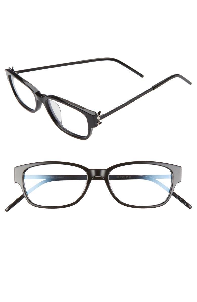SAINT LAURENT 53mm Optical Glasses, Main, color, BLACK