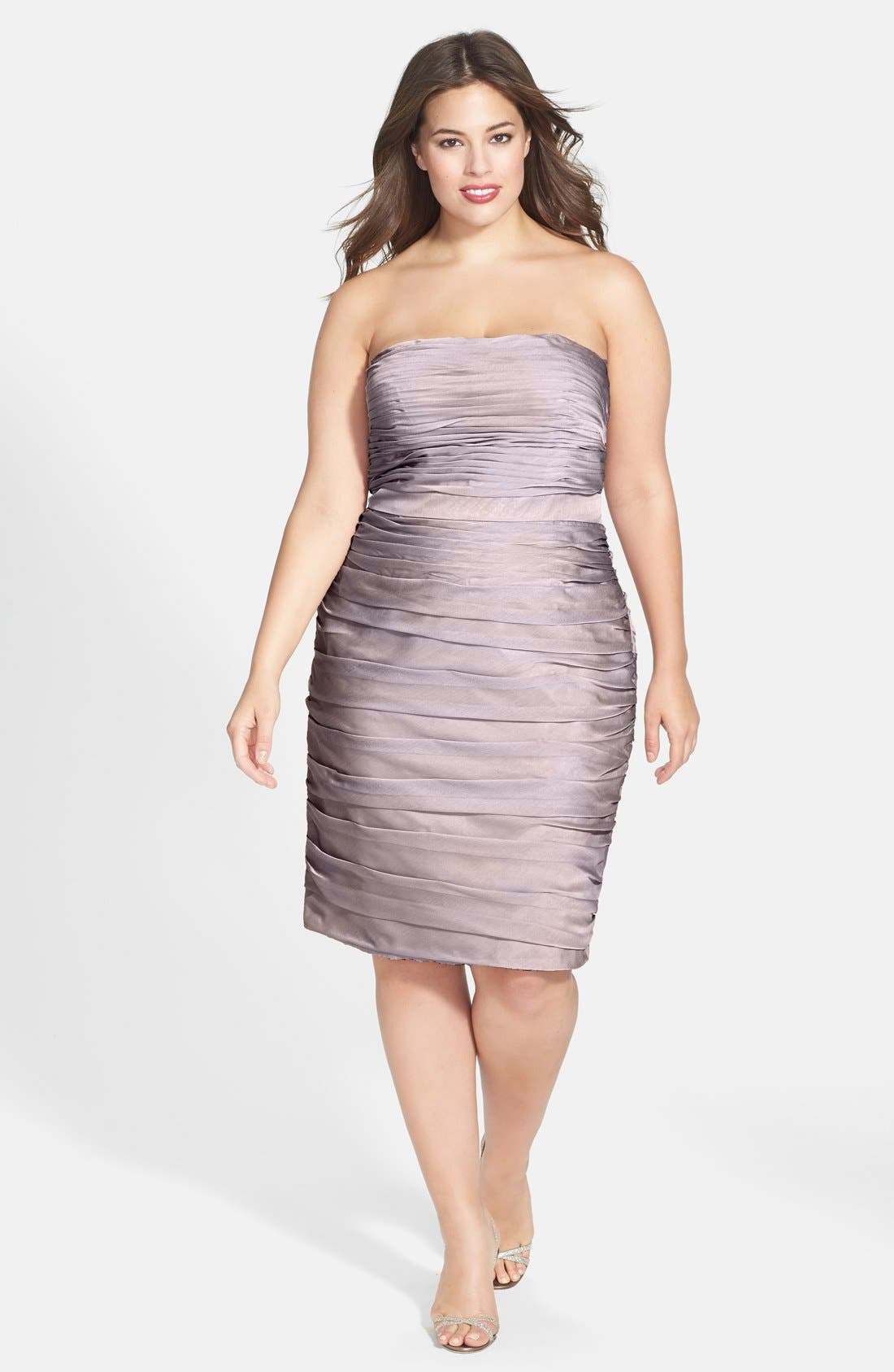 ,                             Ruched Strapless Cationic Chiffon Dress,                             Alternate thumbnail 21, color,                             262