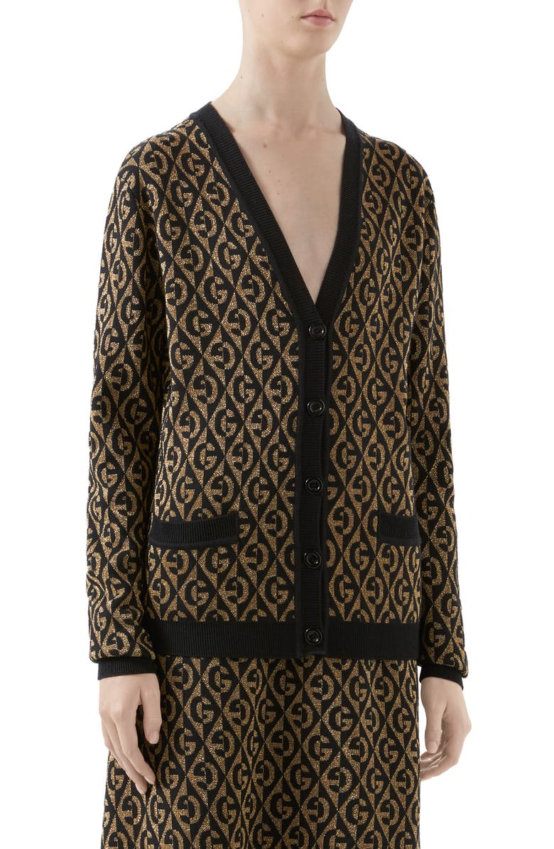 GUCCI GG Rhombus Metallic Jacquard Wool Cardigan, Main, color, GOLD/ BLACK