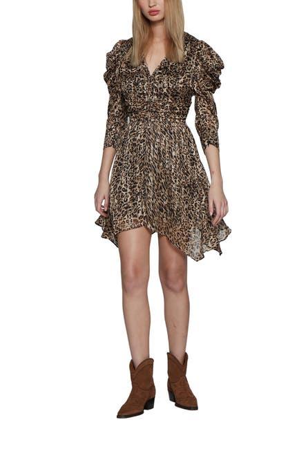 Image of Walter Baker Jenson Puff Shoulder Leopard Print Dress