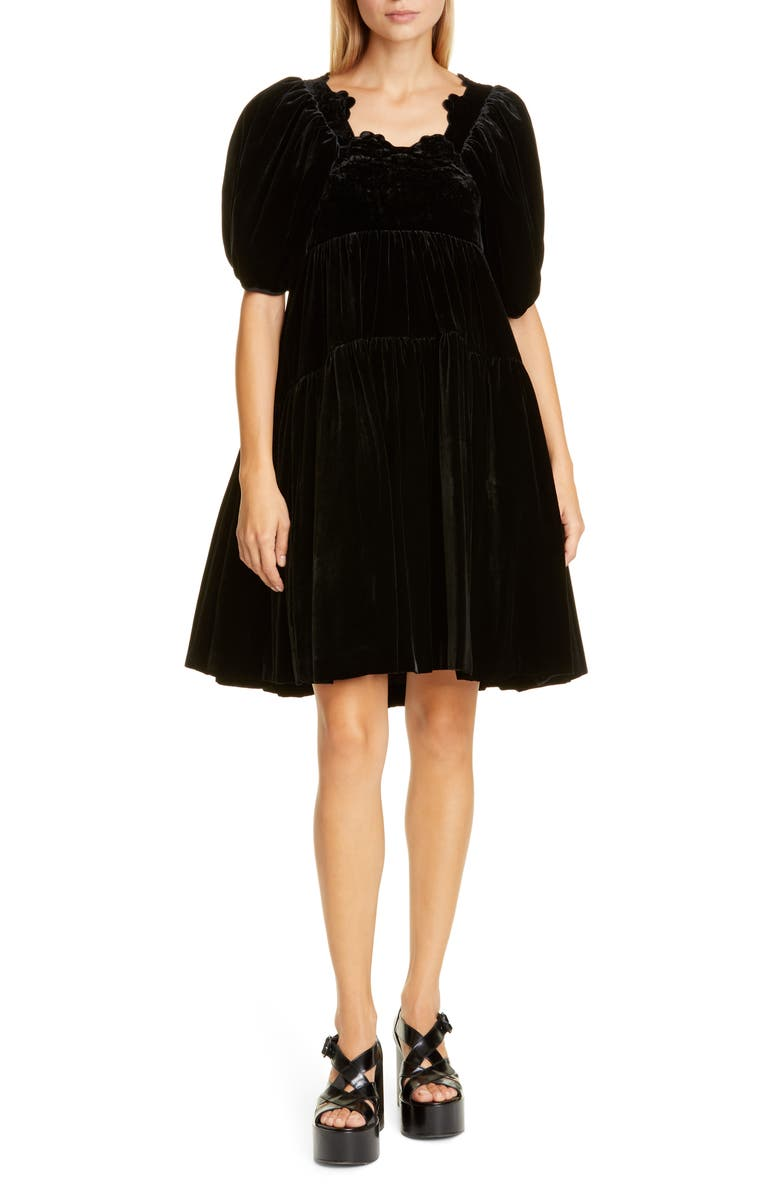 CECILIE BAHNSEN Aviaja Tiered Velvet Dress, Main, color, BLACK